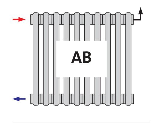Радиатор трубчатый DL 2180 AB боковое подключение