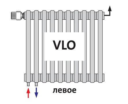 Радиатор трубчатый DLV 2180 VLO нижнее подключение с клапаном